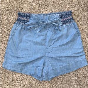 EUC Anthropologie Chambray Paperbag Shorts
